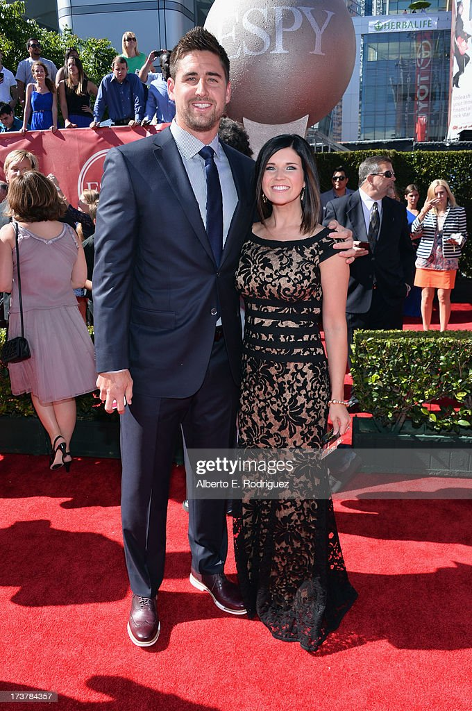 NFL player <a gi-track='captionPersonalityLinkClicked' href=/galleries/search?phrase=Dennis+Pitta&family=editorial&specificpeople=5516841 ng-click='$event.stopPropagation()'>Dennis Pitta</a> and guest attend The 2013 ESPY Awards at Nokia Theatre L.A. Live on July 17, 2013 in Los Angeles, California.