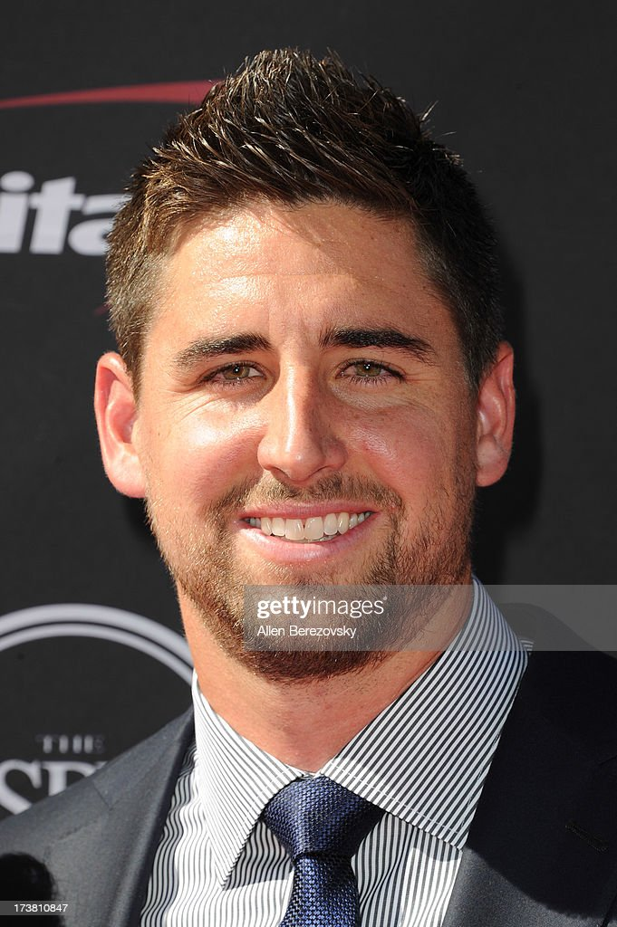 NFL player <a gi-track='captionPersonalityLinkClicked' href=/galleries/search?phrase=Dennis+Pitta&family=editorial&specificpeople=5516841 ng-click='$event.stopPropagation()'>Dennis Pitta</a> arrives at the 2013 ESPY Awards at Nokia Theatre L.A. Live on July 17, 2013 in Los Angeles, California.