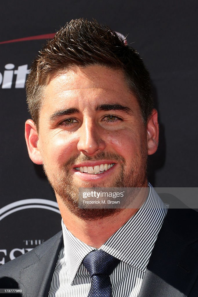 NFL player <a gi-track='captionPersonalityLinkClicked' href=/galleries/search?phrase=Dennis+Pitta&family=editorial&specificpeople=5516841 ng-click='$event.stopPropagation()'>Dennis Pitta</a> attends The 2013 ESPY Awards at Nokia Theatre L.A. Live on July 17, 2013 in Los Angeles, California.