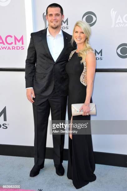 NFL player Derek Carr and Heather Neel arrive at the 52nd Academy Of Country Music Awards on April 2 2017 in Las Vegas Nevada