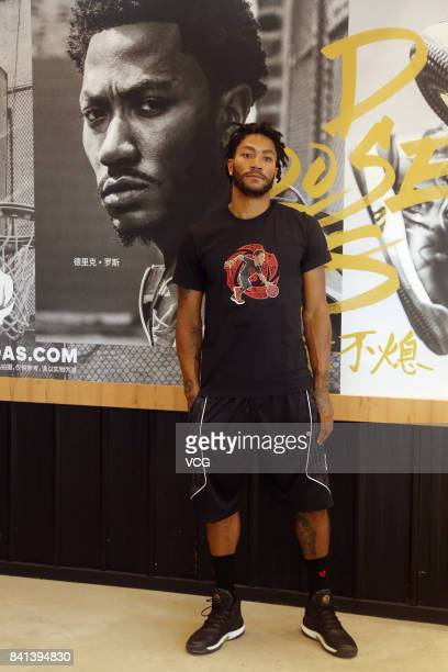 NBA player Derrick Rose of the Cleveland Cavaliers meets fans at HiPark Basketball Park on August 31 2017 in Beijing China