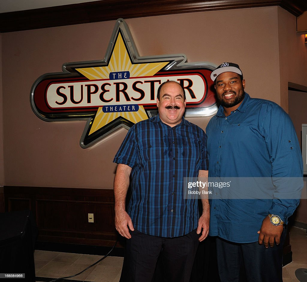 VP Player Development of Resorts Casino John Conklin and New Orleans Saints player <a gi-track='captionPersonalityLinkClicked' href=/galleries/search?phrase=Jahri+Evans&family=editorial&specificpeople=980582 ng-click='$event.stopPropagation()'>Jahri Evans</a> attend the 'Once Upon A Time in Brooklyn' screening at Resorts Casino Hotel on May 11, 2013 in Atlantic City, New Jersey.