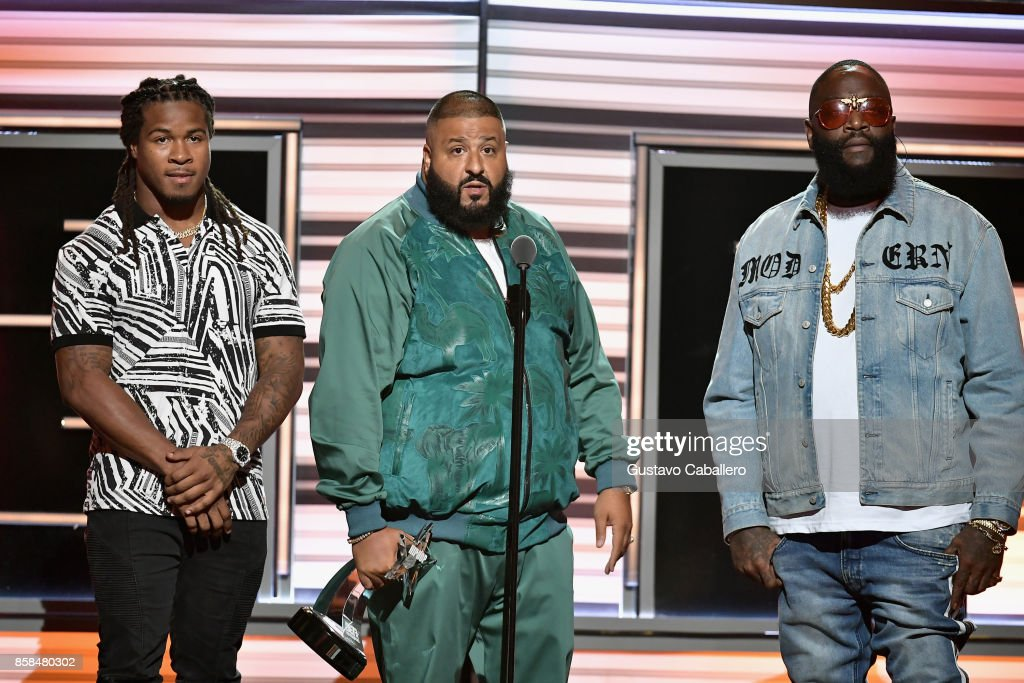 NFL player Devonta Freeman, DJ Khaled, and Rick Ross speak onstage during the BET Hip Hop Awards 2017 at The Fillmore Miami Beach at the Jackie Gleason Theater on October 6, 2017 in Miami Beach, Florida.