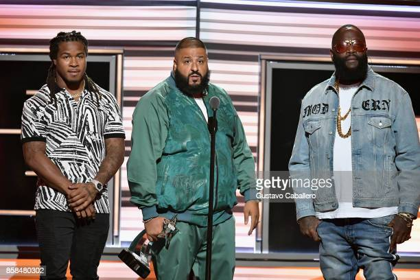 NFL player Devonta Freeman DJ Khaled and Rick Ross speak onstage during the BET Hip Hop Awards 2017 at The Fillmore Miami Beach at the Jackie Gleason...
