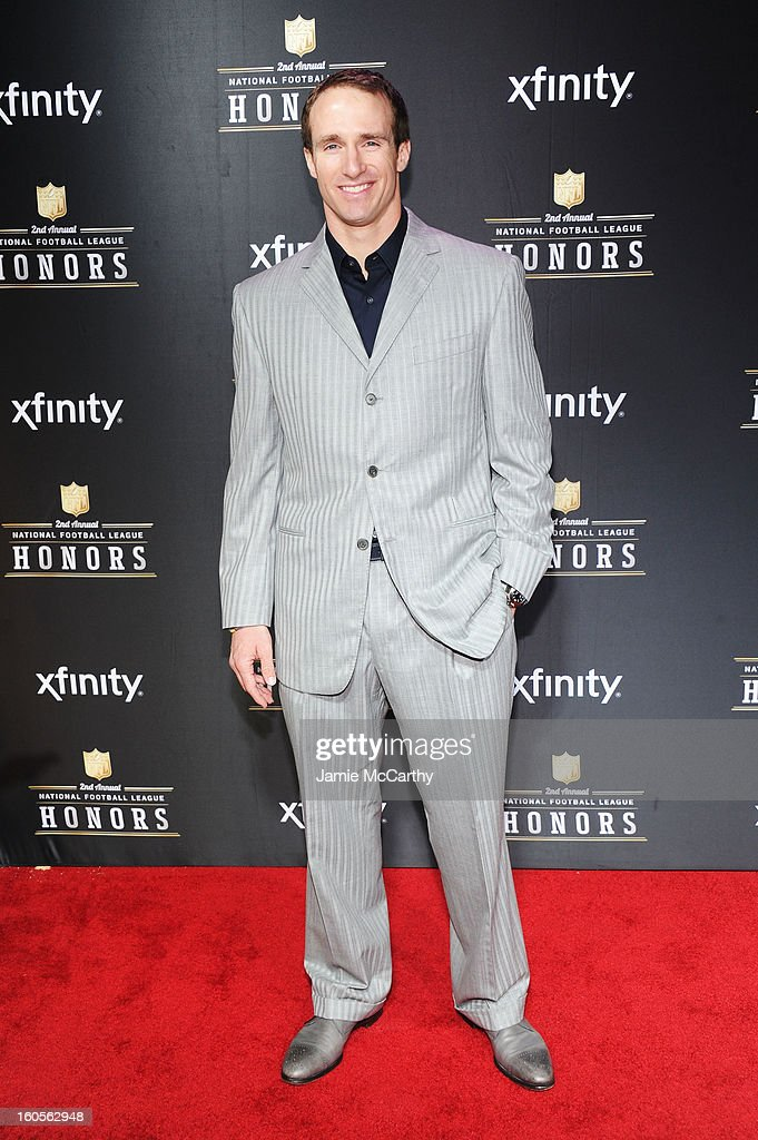 NFL player <a gi-track='captionPersonalityLinkClicked' href=/galleries/search?phrase=Drew+Brees&family=editorial&specificpeople=202562 ng-click='$event.stopPropagation()'>Drew Brees</a> attends the 2nd Annual NFL Honors at Mahalia Jackson Theater on February 2, 2013 in New Orleans, Louisiana.