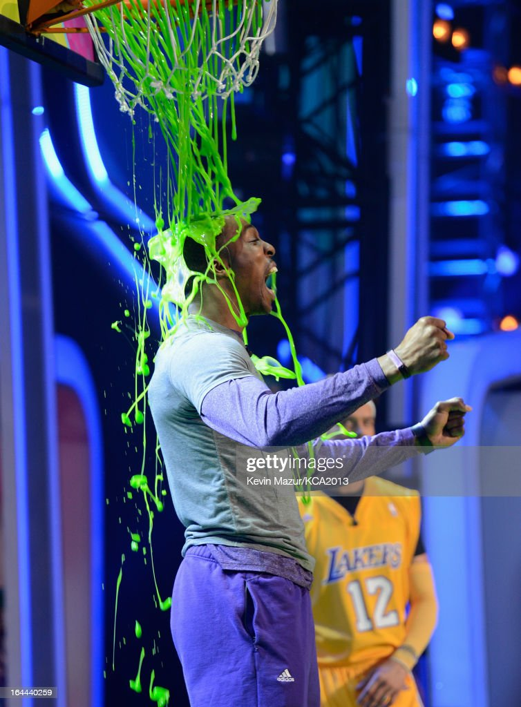 NBA player <a gi-track='captionPersonalityLinkClicked' href=/galleries/search?phrase=Dwight+Howard&family=editorial&specificpeople=201570 ng-click='$event.stopPropagation()'>Dwight Howard</a> onstage during Nickelodeon's 26th Annual Kids' Choice Awards at USC Galen Center on March 23, 2013 in Los Angeles, California.