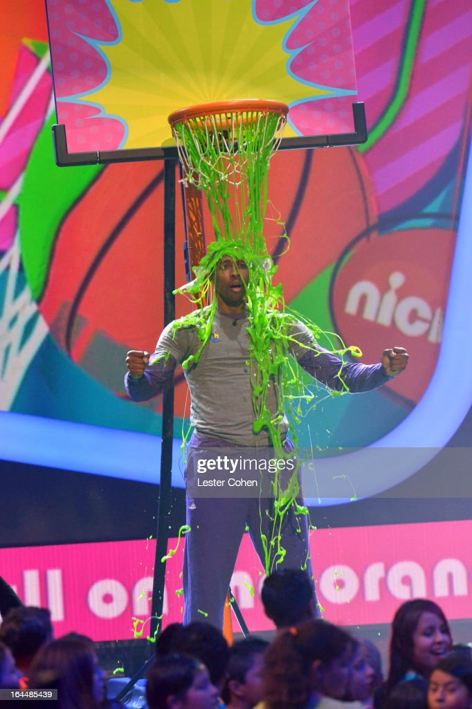 NBA player <a gi-track='captionPersonalityLinkClicked' href=/galleries/search?phrase=Dwight+Howard&family=editorial&specificpeople=201570 ng-click='$event.stopPropagation()'>Dwight Howard</a> performs during Nickelodeon's 26th Annual Kids' Choice Awards at USC Galen Center on March 23, 2013 in Los Angeles, California.