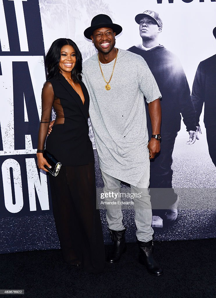 NBA player Dwyane Wade (L) and actress Gabrielle Union arrive at the world premiere of Universal Pictures and Legendary Pictures' 'Straight Outta Compton' at the Microsoft Theate on August 10, 2015 in Los Angeles, California.