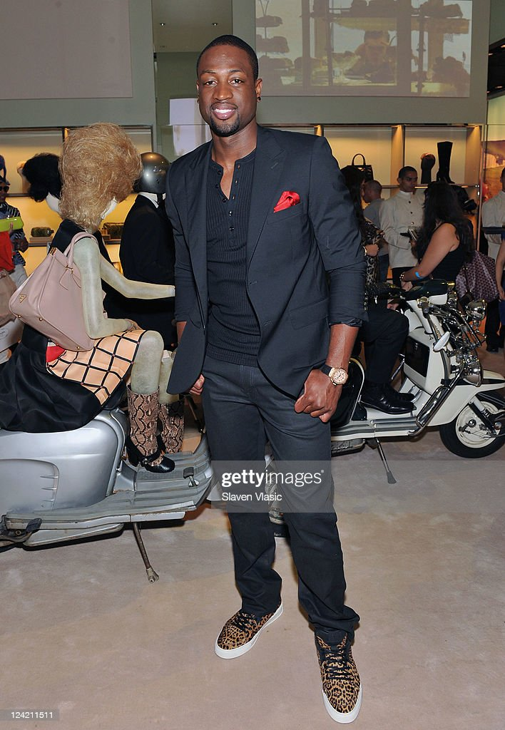 NBA player <a gi-track='captionPersonalityLinkClicked' href=/galleries/search?phrase=Dwyane+Wade&family=editorial&specificpeople=201481 ng-click='$event.stopPropagation()'>Dwyane Wade</a> attends Prada Fashion's Night Out at Prada 5th Avenue on September 8, 2011 in New York City.