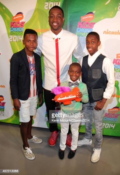 NBA player Dwyane Wade with sons Zaire Zion and Xavier attends Nickelodeon Kids' Choice Sports Awards 2014 at UCLA's Pauley Pavilion on July 17 2014...