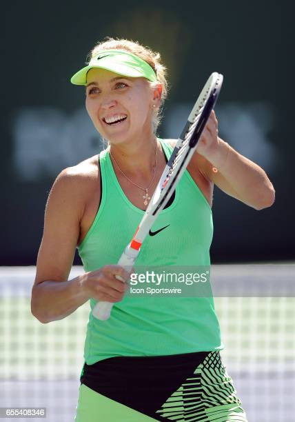 WTA player Elena Vesnina reacts after defeating Svetlana Kuznetsova on March 19 67 75 64 in the finals of the BNP Paribas Open in a tournament played...