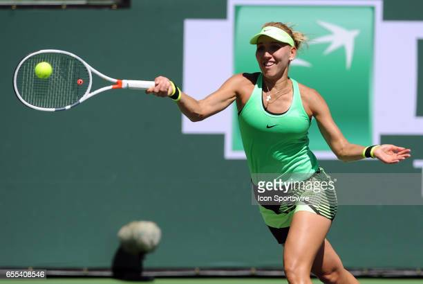 WTA player Elena Vesnina returns a shot during a finals match against Svetlana Kuznetsova on March 19 during the BNP Paribas Open played at the...