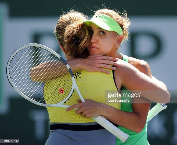 WTA player Elena Vesnina with Svetlana Kuznetsova on March 19 after Vesnina defeated Kuznetsova 67 75 64 to become the 2017 BNP Paribas Open Champion...