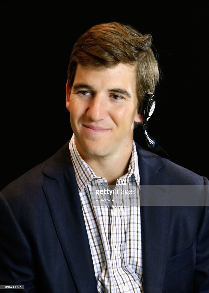 Player <a gi-track='captionPersonalityLinkClicked' href=/galleries/search?phrase=Eli+Manning&family=editorial&specificpeople=202013 ng-click='$event.stopPropagation()'>Eli Manning</a> attends SiriusXM's Live Broadcast from Radio Row during Bowl XLVII week on February 1, 2013 in New Orleans, Louisiana.