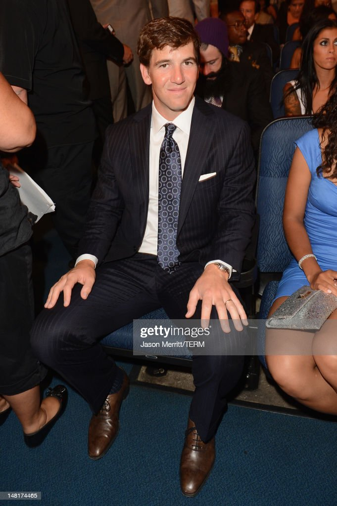 NFL player Eli Manning of the New York Giants in the audience during the 2012 ESPY Awards at Nokia Theatre LA Live on July 11 2012 in Los Angeles...