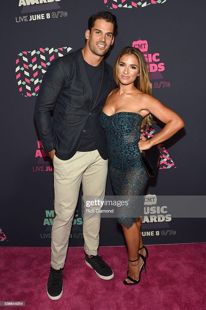 NFL player Eric Decker and singer Jessie James Decker attend the 2016 CMT Music awards at the Bridgestone Arena on June 8 2016 in Nashville Tennessee