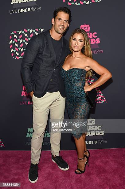 NFL player Eric Decker and singer Jessie James Decker attend the 2016 CMT Music awards at the Bridgestone Arena on June 8 2016 in Nashville Tennessee