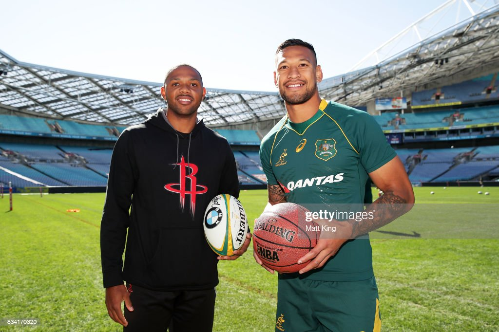 NBA player Eric Gordon of the Houston Rockets (L) meets Israel Folau of the Wallabies (R) during the Australian Wallabies Captain's Run at ANZ Stadium on August 18, 2017 in Sydney, Australia.