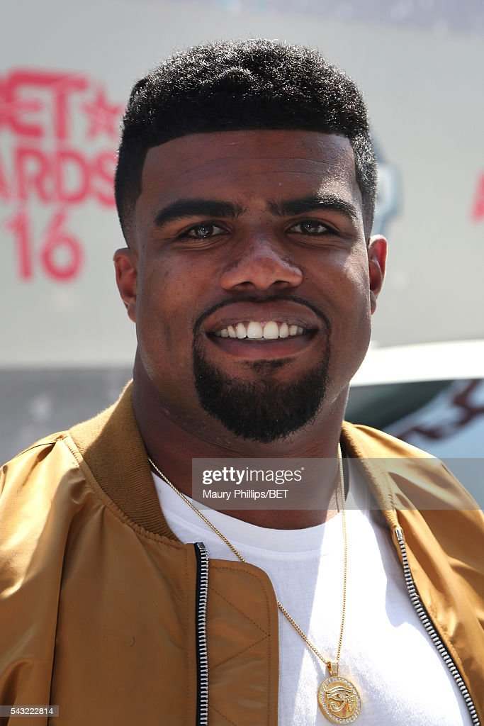 NFL player <a gi-track='captionPersonalityLinkClicked' href=/galleries/search?phrase=Ezekiel+Elliott&family=editorial&specificpeople=11353596 ng-click='$event.stopPropagation()'>Ezekiel Elliott</a> attends the Nissan red carpet during the 2016 BET Awards at the Microsoft Theater on June 26, 2016 in Los Angeles, California.