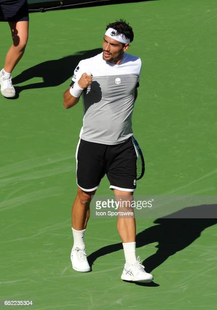 ATP player Fabio Fognini reacts after winning a point during the third set of a match against JoWilfried Tsonga played on March 11 2017 during the...