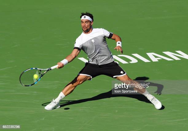 ATP player Fabio Fognini returns a shot during the third set of a match against JoWilfried Tsonga played on March 11 2017 during the BNP Paribas Open...