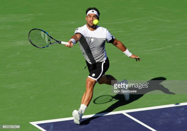 ATP player Fabio Fognini runs for the ball during the third set of a match against JoWilfried Tsonga played on March 11 2017 during the BNP Paribas...