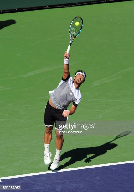 ATP player Fabio Fognini serving during the third set of a match against JoWilfried Tsonga played on March 11 2017 during the BNP Paribas Open played...