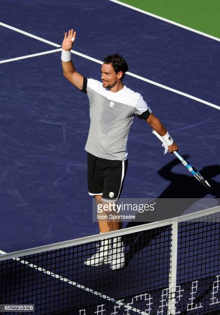 ATP player Fabio Fognini waves to the fans after defeating JoWilfried Tsonga 76 36 64 during a match played on March 11 2017 during the BNP Paribas...