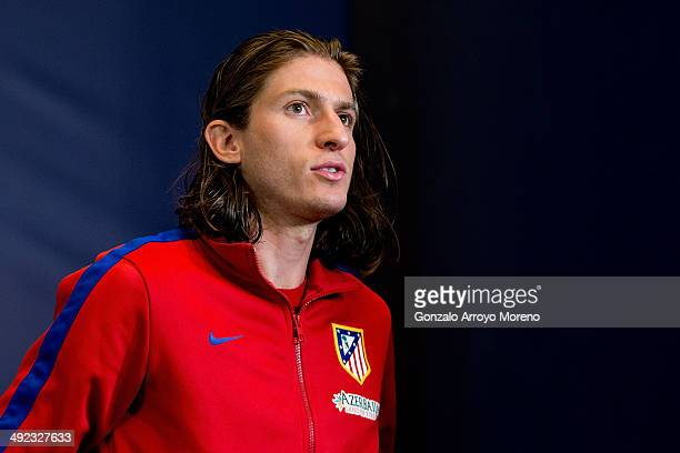 Player Filipe Luis of Atletico de Madrid leaves Club Atletico de Madrid press conference during the Media Day prior to UEFA Champions League Final...