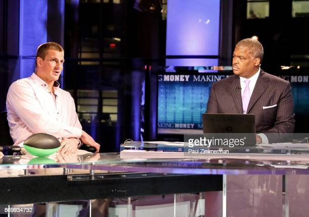 NFL player for the New England Patriots Rob Gronkowski and FOX Business Network's 'Making Money' host Charles Payne at FOX Studios on November 3 2017...