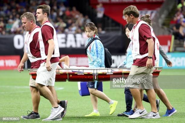 A player from the Korea Republic is carried off the field during the game against the USA at the MercedesBenz Superdome on October 19 2017 in New...