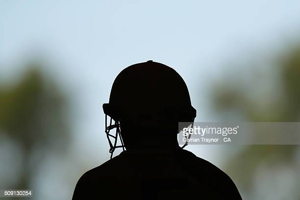A player from Western Australia waits to bat during day 2 the National Indigenous Cricket Championships on February 9 2016 in Alice Springs Australia