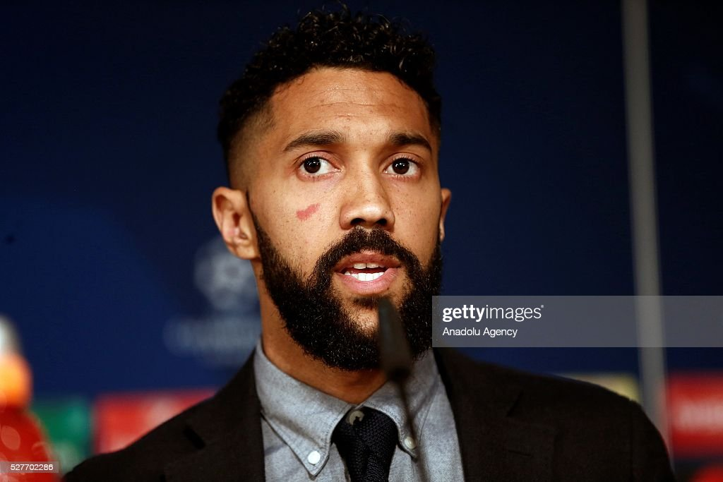 Player Gael Clichy of Manchester City during a press conference ahead of the UEFA Champions League Semi Final second leg match between Real Madrid and Manchester City FC at Estadio Santiago Bernabeu on May 3, 2016 in Madrid, Spain.