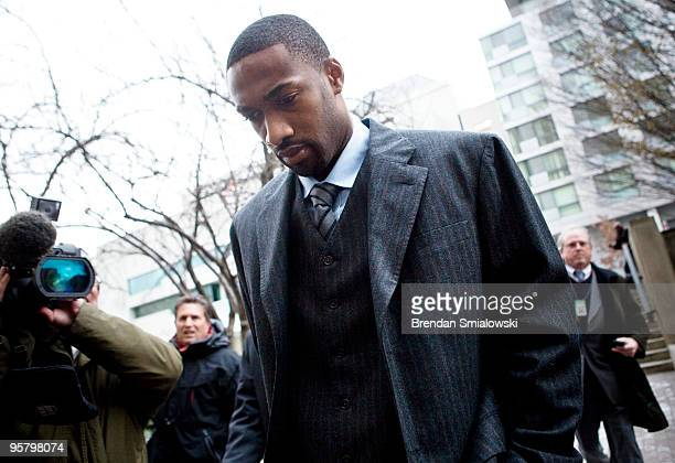 NBA player Gilbert Arenas arries at District of Columbia Court January 15 2010 in Washington DC The Washington Wizards star was to appear in court to...