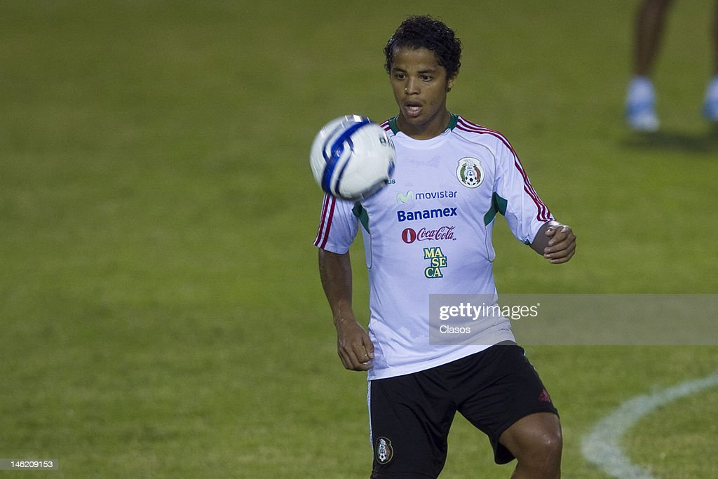 Player Giovani Dos Santos in action during a training session of the Mexican National Soccer Team at Cuscatlan Staduim before a match between Mexico and El Salvador for the qualifiers for the World Cup Brazil 2014 on June 11, 2012 in San Salvador, El Salvador.