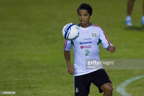 Player Giovani Dos Santos in action during a training session of the Mexican National Soccer Team at Cuscatlan Staduim before a match between Mexico...