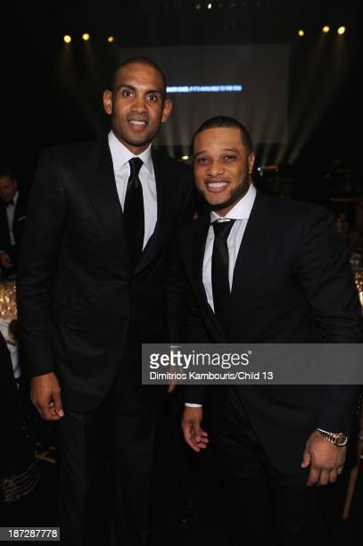 NBA player Grant Hill and MLB player Robinson Cano attend Keep A Child Alive's 10th Annual Black Ball at Hammerstein Ballroom on November 7 2013 in...