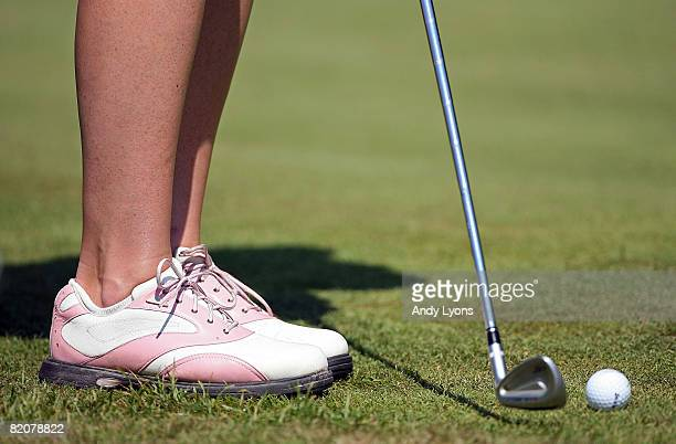 A player hits a chip shot during the final round of the Evian Masters on July 27 2008 at the Evian Golf Club in Evian France