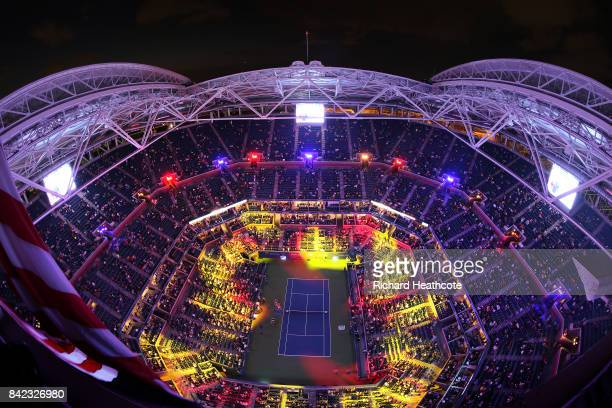 Player introductions take place prior to the fourth round Women's Single match between Petra Kvitova of the Czech Republic and Garbine Muguruza of...