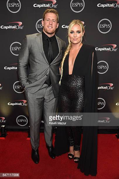 NFL player J J Watt and alpine ski racer Lindsey Vonn attend the 2016 ESPYS at Microsoft Theater on July 13 2016 in Los Angeles California
