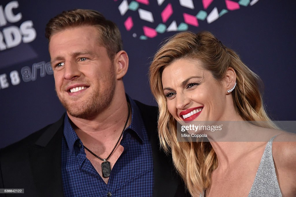Player J. J. Watt and Erin Andrews attends the 2016 CMT Music awards at the Bridgestone Arena on June 8, 2016 in Nashville, Tennessee.