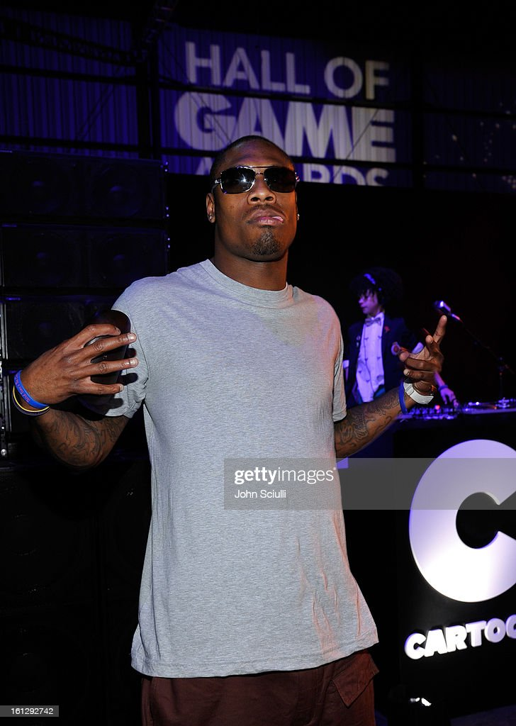 NFL Player <a gi-track='captionPersonalityLinkClicked' href=/galleries/search?phrase=Jacoby+Jones&family=editorial&specificpeople=4167942 ng-click='$event.stopPropagation()'>Jacoby Jones</a> attends the Third Annual Hall of Game Awards hosted by Cartoon Network at Barker Hangar on February 9, 2013 in Santa Monica, California. 23270_005_JS_0135.JPG