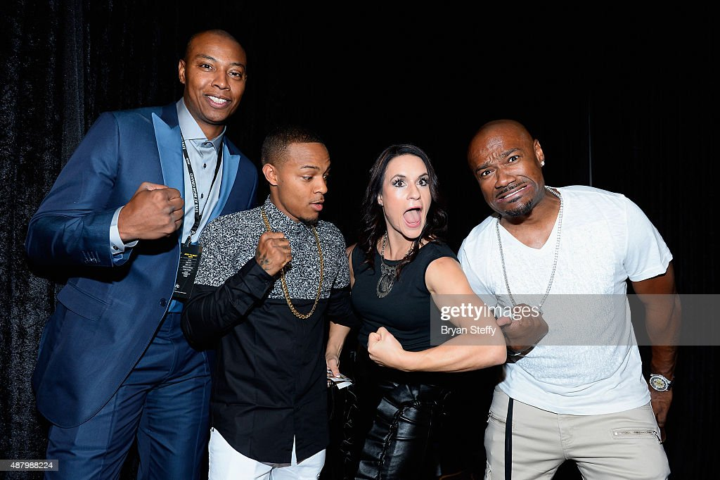 NBA player James <a gi-track='captionPersonalityLinkClicked' href=/galleries/search?phrase=Caron+Butler&family=editorial&specificpeople=201744 ng-click='$event.stopPropagation()'>Caron Butler</a> of the Sacramento Kings, rapper Shad '<a gi-track='captionPersonalityLinkClicked' href=/galleries/search?phrase=Bow+Wow+-+Rapper&family=editorial&specificpeople=211211 ng-click='$event.stopPropagation()'>Bow Wow</a>' Moss, former Arizona Cardinals training camp/preseason intern linebackers coach <a gi-track='captionPersonalityLinkClicked' href=/galleries/search?phrase=Jen+Welter&family=editorial&specificpeople=14887463 ng-click='$event.stopPropagation()'>Jen Welter</a>s and television personality Darian '<a gi-track='captionPersonalityLinkClicked' href=/galleries/search?phrase=Big+Tigger+-+Radio+Personality&family=editorial&specificpeople=221644 ng-click='$event.stopPropagation()'>Big Tigger</a>' Morgan arrive at the VIP Pre-Fight Party for 'High Stakes: Mayweather v. Berto' presented by Showtime at MGM Grand Garden Arena on September 12, 2015 in Las Vegas, Nevada.