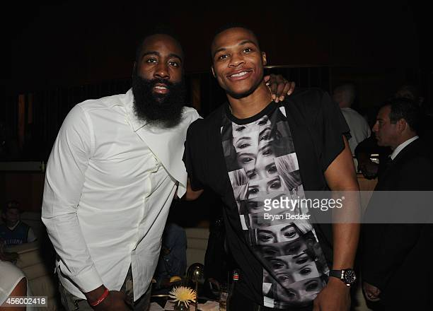 NBA player James Harden and NBA player Russell Westbrook attend NBA 2K15 Launch Celebration at The Standard on September 23 2014 in New York City