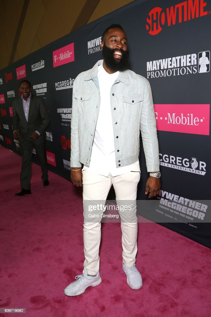 NBA player James Harden arrives on T-Mobile's magenta carpet duirng the Showtime, WME IME and Mayweather Promotions VIP Pre-Fight Party for Mayweather vs. McGregor at T-Mobile Arena on August 26, 2017 in Las Vegas, Nevada.