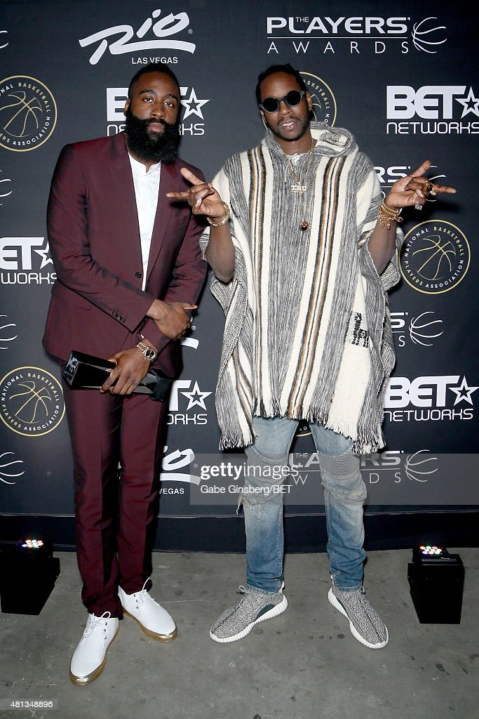 NBA player James Harden of the Houston Rockets and rapper 2 Chainz attends The Players' Awards presented by BET at the Rio Hotel Casino on July 19...
