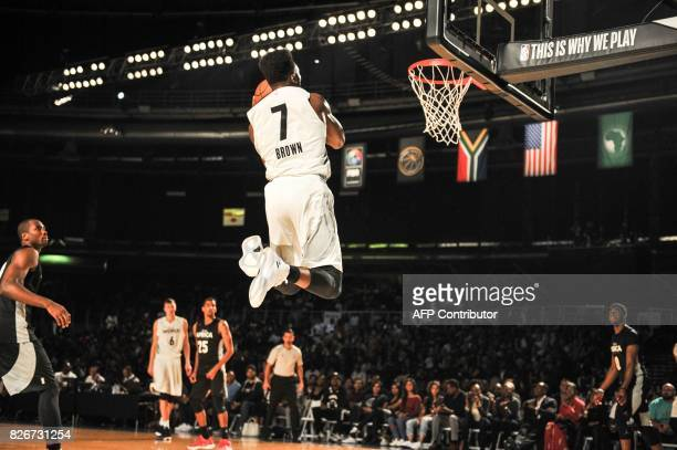 NBA player Jaylen Brown from the Boston Celtics jumps during the NBA Africa Game 2017 basketball match between Team Africa and Team World on August 5...