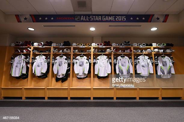 Player jersies are seen in the Team Toews locker room before the 2015 Honda NHL AllStar Game at Nationwide Arena on January 25 2015 in Columbus Ohio