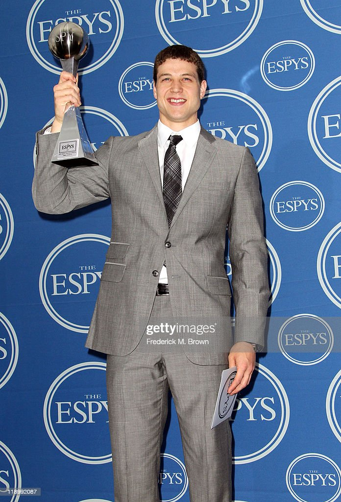 NBA player Jimmer Fredette poses in the press room with award Best Male College Athlete at The 2011 ESPY Awards at Nokia Theatre L.A. Live on July 13, 2011 in Los Angeles, California.