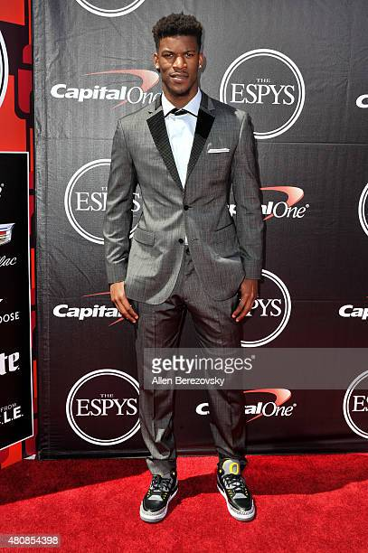 NBA player Jimmy Butler arrives at the 2015 ESPYS at Microsoft Theater on July 15 2015 in Los Angeles California